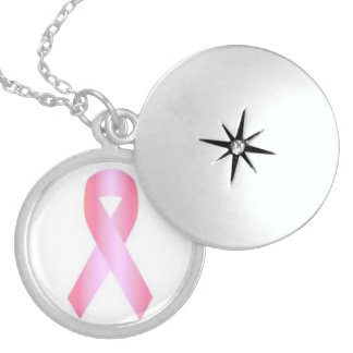 Sterling Silver Breast Cancer Charm Round Locket Necklace