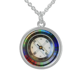 Sterling Silver Faux Compass Sterling Silver Necklace