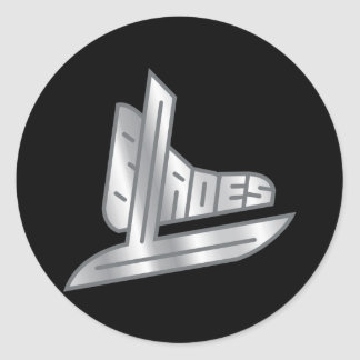 Sterling Silver Hockey Blades Classic Round Sticker