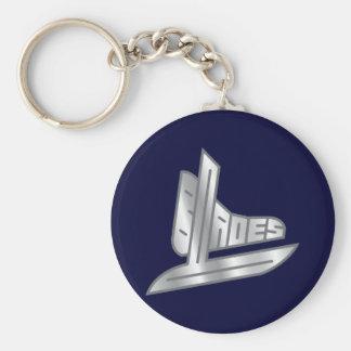 Sterling Silver Hockey Blades Keychains