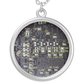 Sterling Silver Integrated Circuit Board Necklace