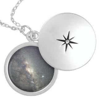 Sterling Silver Locket Milky Way Galaxy Print