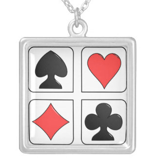 sterling silver lucky playing cards necklace