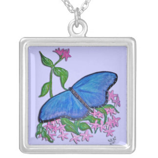 Sterling Silver Necklace - butterfly blue