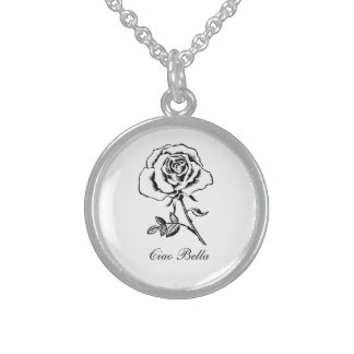 """Sterling Silver Necklace """"Ciao Bella"""" w/ rose"""