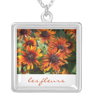 Sterling Silver Plated Necklace/les fleurs Square Pendant Necklace