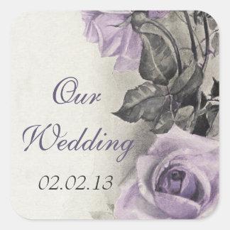 Sterling Silver Purple Rose Wedding Envelope Seal