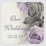 Sterling Silver Purple Rose Wedding Envelope Seal Square Sticker