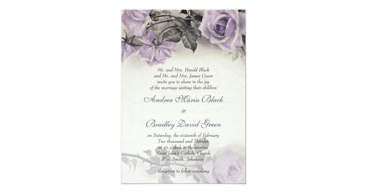 Purple Rose Wedding Invitations