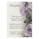 Sterling Silver Purple Rose Wedding Reception Card