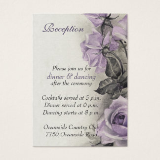Sterling Silver Purple Rose Wedding Reception Card