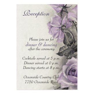 Sterling Silver Purple Rose Wedding Reception Card Business Card Template