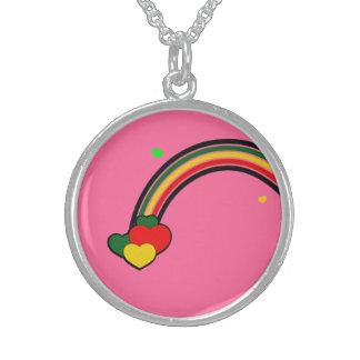 Sterling Silver Rasta Reggae Rainbow Necklace Pink