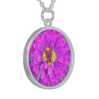 """Sterling Silver Round Necklace, """"FUCHSIA FLORAL"""""""