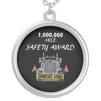 STERLING SILVER SAFETY AWARD ROUND PENDANT NECKLACE