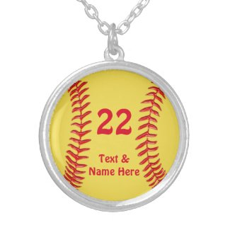 Sterling Silver Softball Necklace, Name, Number Sterling Silver Necklace