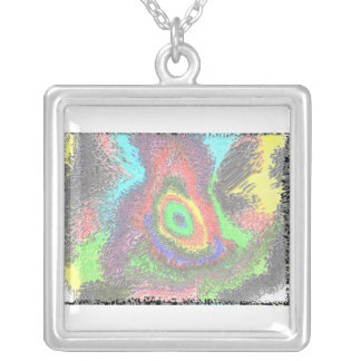 Sterling Silver square necklace psychedelic colors