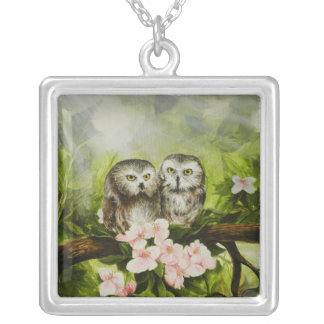 Sterling Silver Square necklace with baby owls