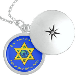 Sterling Silver Star of David Necklace, Locket