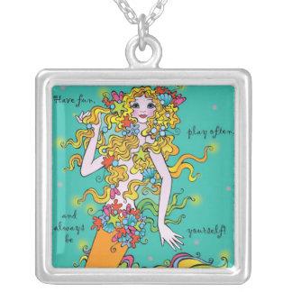 Sterling Silver Tutti-Frutti Mermaid Art Necklace