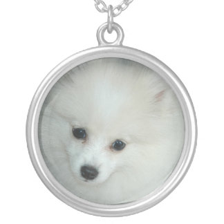 Sterling Silver White Pomeranian Necklace