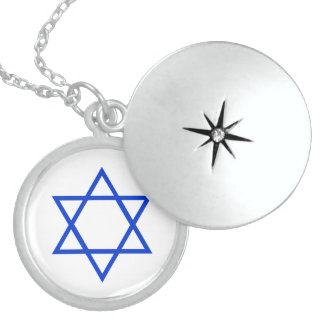 sterling star of david, brite blue  on white locket necklace