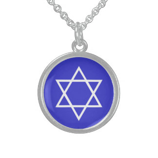 sterling star of david, brite blue  on white sterling silver necklace