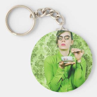Stern lady basic round button keychain