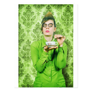 Stern lady postcard
