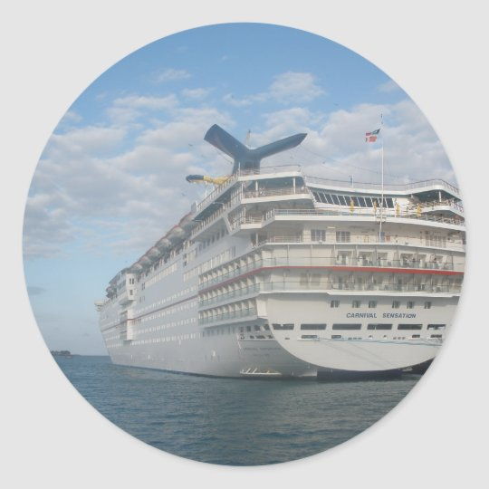 Stern of the Carnival Sensation Cruise Ship Classic Round Sticker