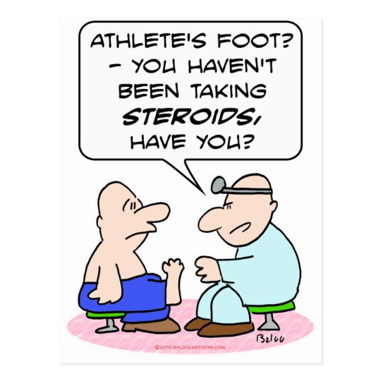 steroids athletes foot doctor postcard
