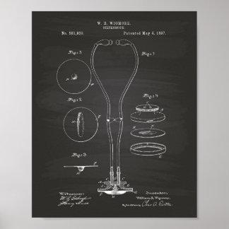 Stethoscope 1897 Patent Art Chalkboard Poster