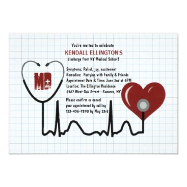 Valentines Themed Stethoscope and Heart Graduation Invitation