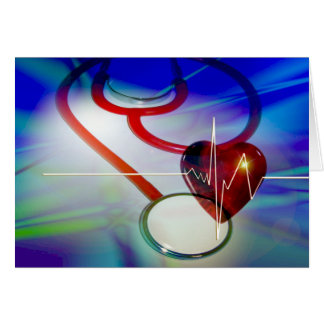 Stethoscope and Heartbeat Blank Card