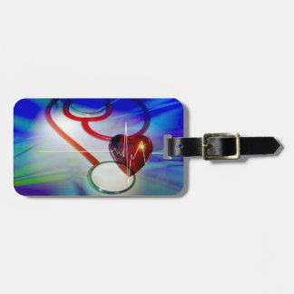 Stethoscope and Heartbeat Luggage Tag