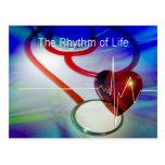 Stethoscope and Heartbeat Postcard