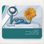 """Stethoscope and Spring Daisy Mousepads for Nurse<br><div class=""""desc"""">Nurses Day / Nurses Week / Graduation from Nursing school / Nurse Appreciation Stethoscope and Spring Daisy design Gift Mousepads for Nurses with personalized name and the quote &quot;Nurses may not be angels, but they are the next best thing &quot;. Matching cards, postage stamps and other products available in the...</div>"""