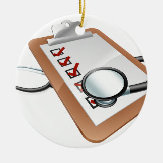 Stethoscope clipboard concept Double-Sided ceramic round christmas ornament