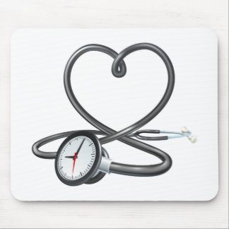 Stethoscope Heart Clock Concept Mouse Pad