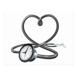 Stethoscope Heart Clock Concept Postcard