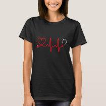 Stethoscope Heart Nurse T Shirt - Registered Nurse