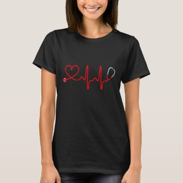 Valentines Themed Stethoscope Heart Nurse T Shirt - Registered Nurse