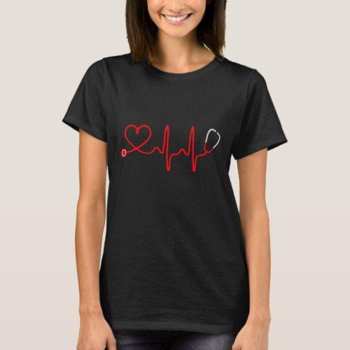 Stethoscope Heart Nurse T Shirt _ Registered Nurse