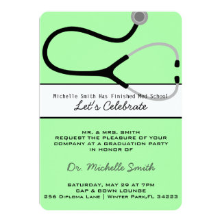 Stethoscope Medical Doctor Graduation Announcement