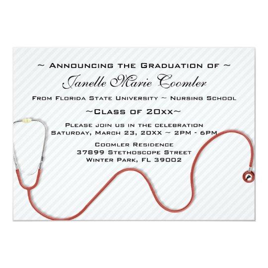 Stethoscope medical school graduation invitation zazzle stethoscope medical school graduation invitation filmwisefo