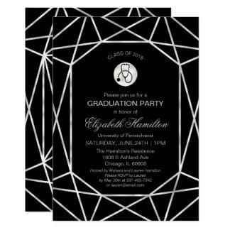 Stethoscope Nursing School Grad Party Geometric Card