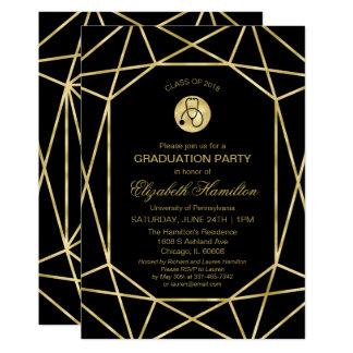 Stethoscope Nursing School Grad Party Gold Gem Card