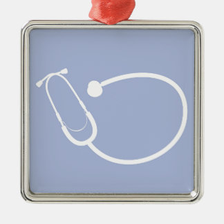 Stethoscope Square Metal Christmas Ornament