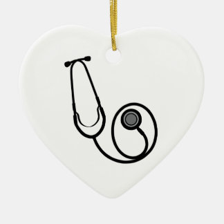 Stethoscope Double-Sided Heart Ceramic Christmas Ornament
