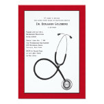 Stethoscope with Red Border Medical Retirement Inv Card